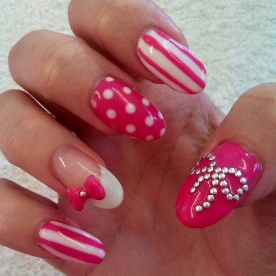 10 cutest bow nail designs that are pleasingly pretty hot pink white nail art prinsesfo Image collections