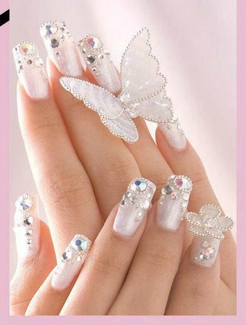 20 Startling Nail Designs With Diamonds – NailDesignCode