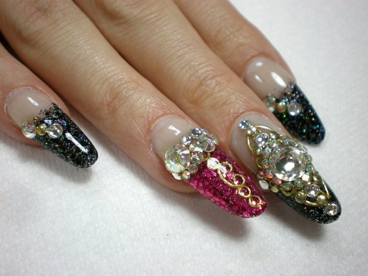 nail designs with rhinestones 11