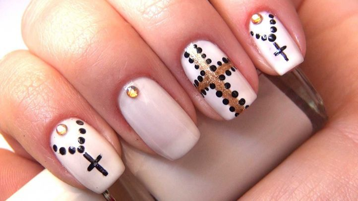 The Cross Plus Rhinestones. nail designs ... - 20 Nail Designs With Rhinestones To Spice Up Your Beauty
