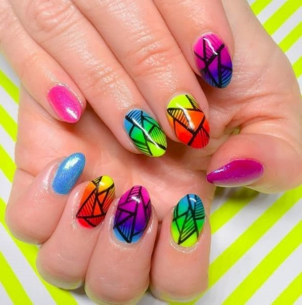 Burning Up neon nail designs