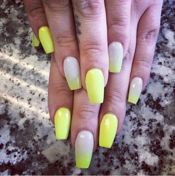 Yellow Love neon nail designs