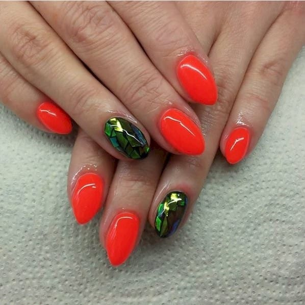 Orange Kiss neon nail design for women
