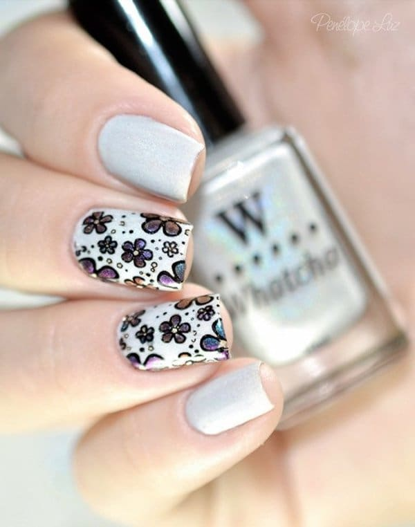 ombre & grey nail designs 13