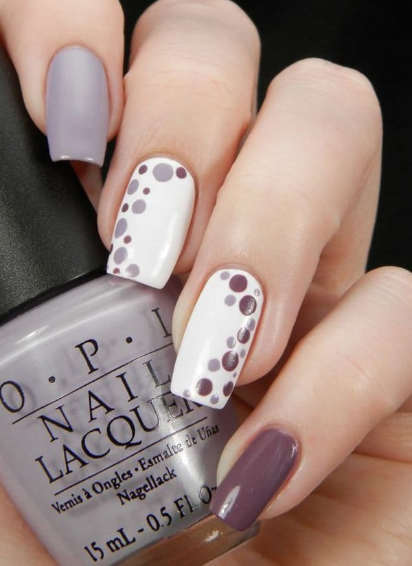 purple and grey nail design