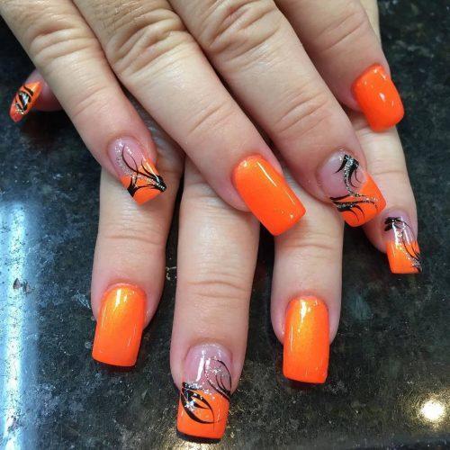 orange nail designs 14