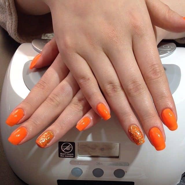 orange nail designs 18
