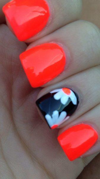 orange red nail design
