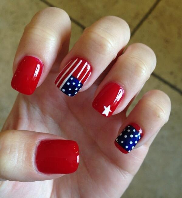Red For Strength patriotic nail designs for women