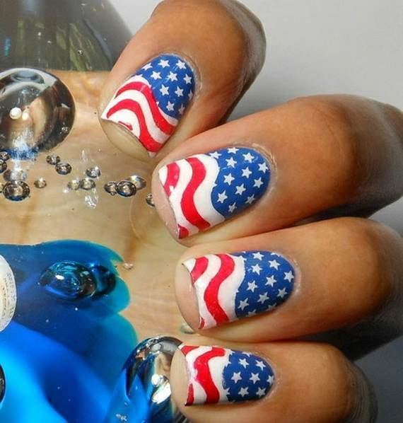 Waving Flags patriotic nail art