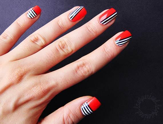 White and Blue Stripes patriotic nail you love