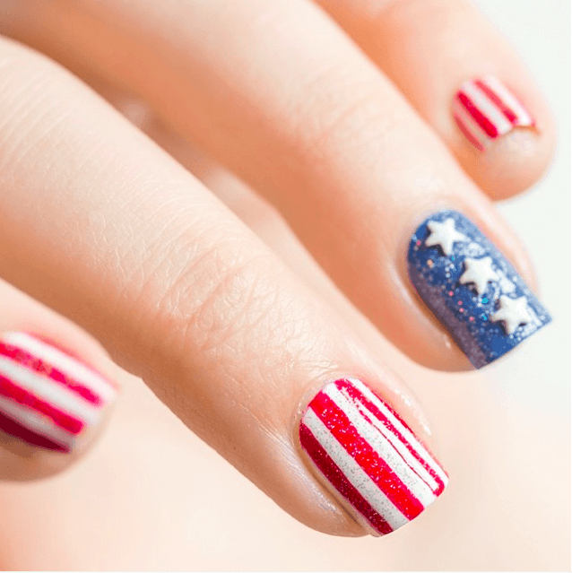Glittery And Festive patriotic nail idea for girl