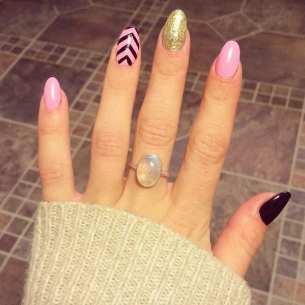 golden pink and black nail designs for women