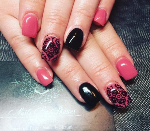 pink and black lace nail design