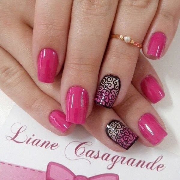 pink and black nail designs