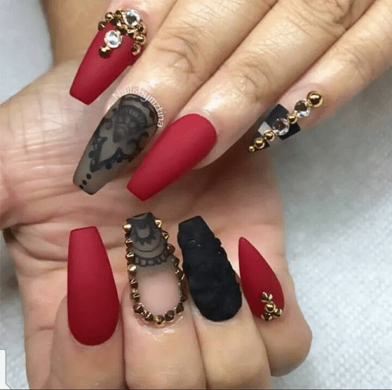 Red and black nail designs are in style! So by choosing one of the above  nail styles can't possibly go wrong! Choose wisely, though, you are one  black with ... - 40 Stunning Red & Black Nail Designs You'll Love To Try