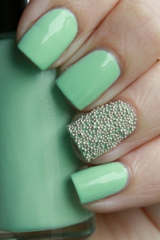 Seafoam Green ring finger nail art