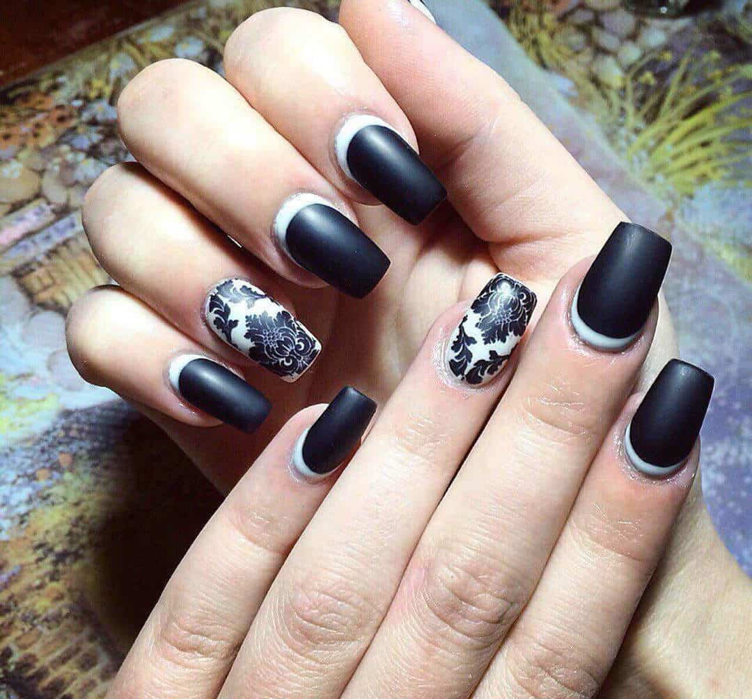 Matte Black shellac nail designs idea