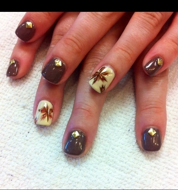 Short Square Shellac nail design for women