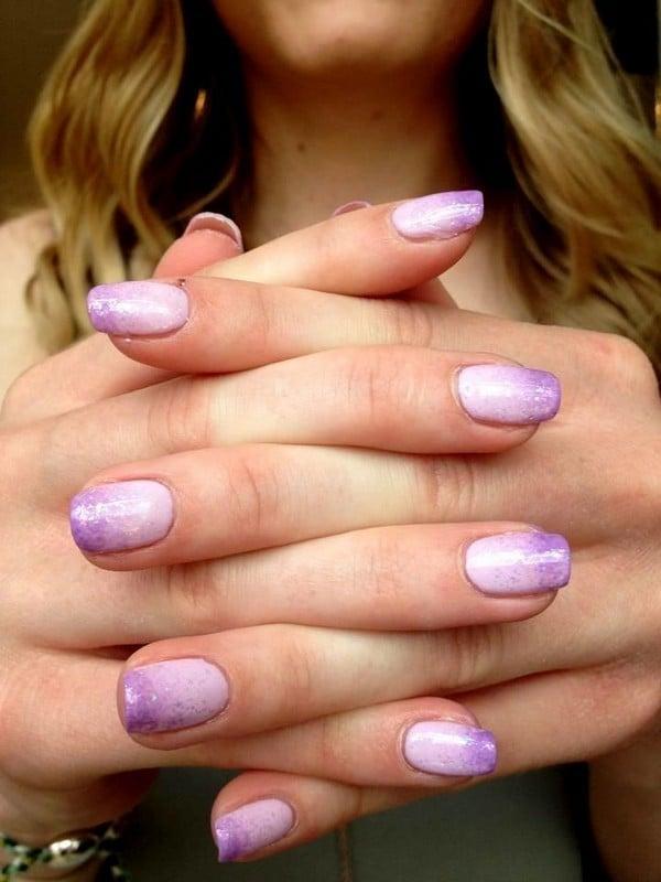 shellac nail with Purple Degradation
