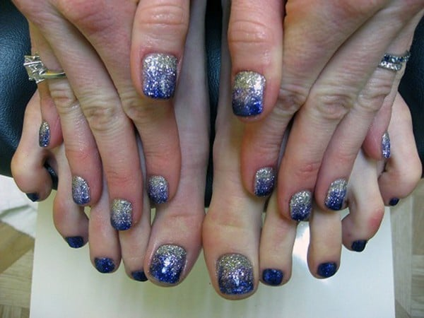 Silver & Blue Gradient shellac nail art