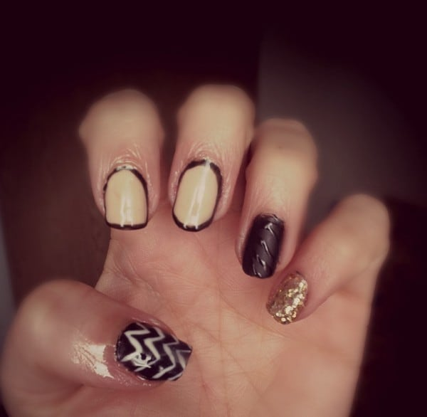 Black & Beige Combo shellac nail design