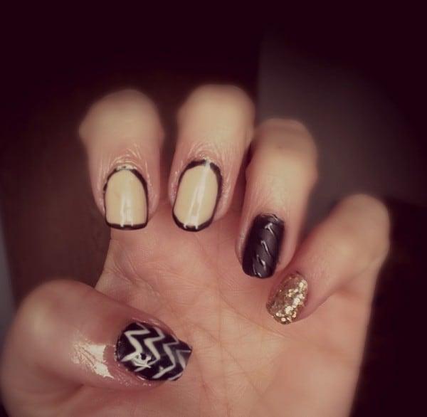 Black & Beige Combo shellac nail design