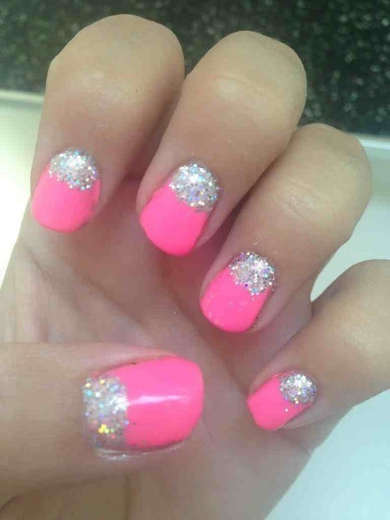 Sparkling Base shellac nail idea for women
