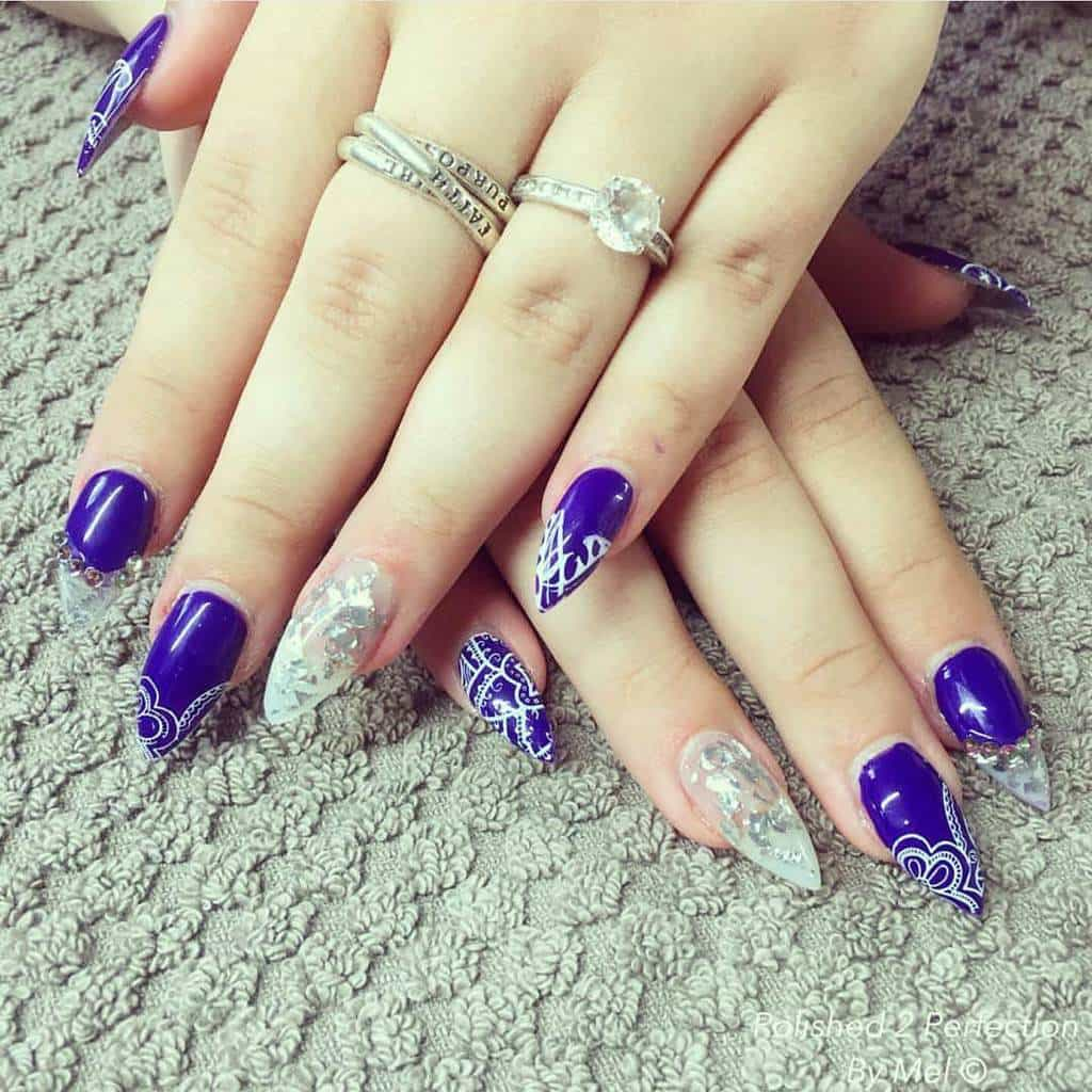 stiletto shellac nail designs