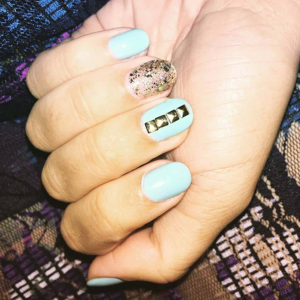 Sky Blue & Gold shellac nail designs for women