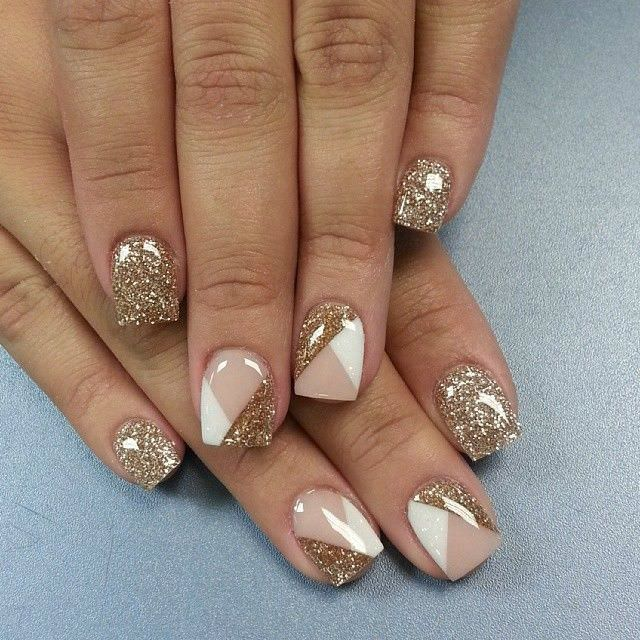 Silver-White And Gold Nails color