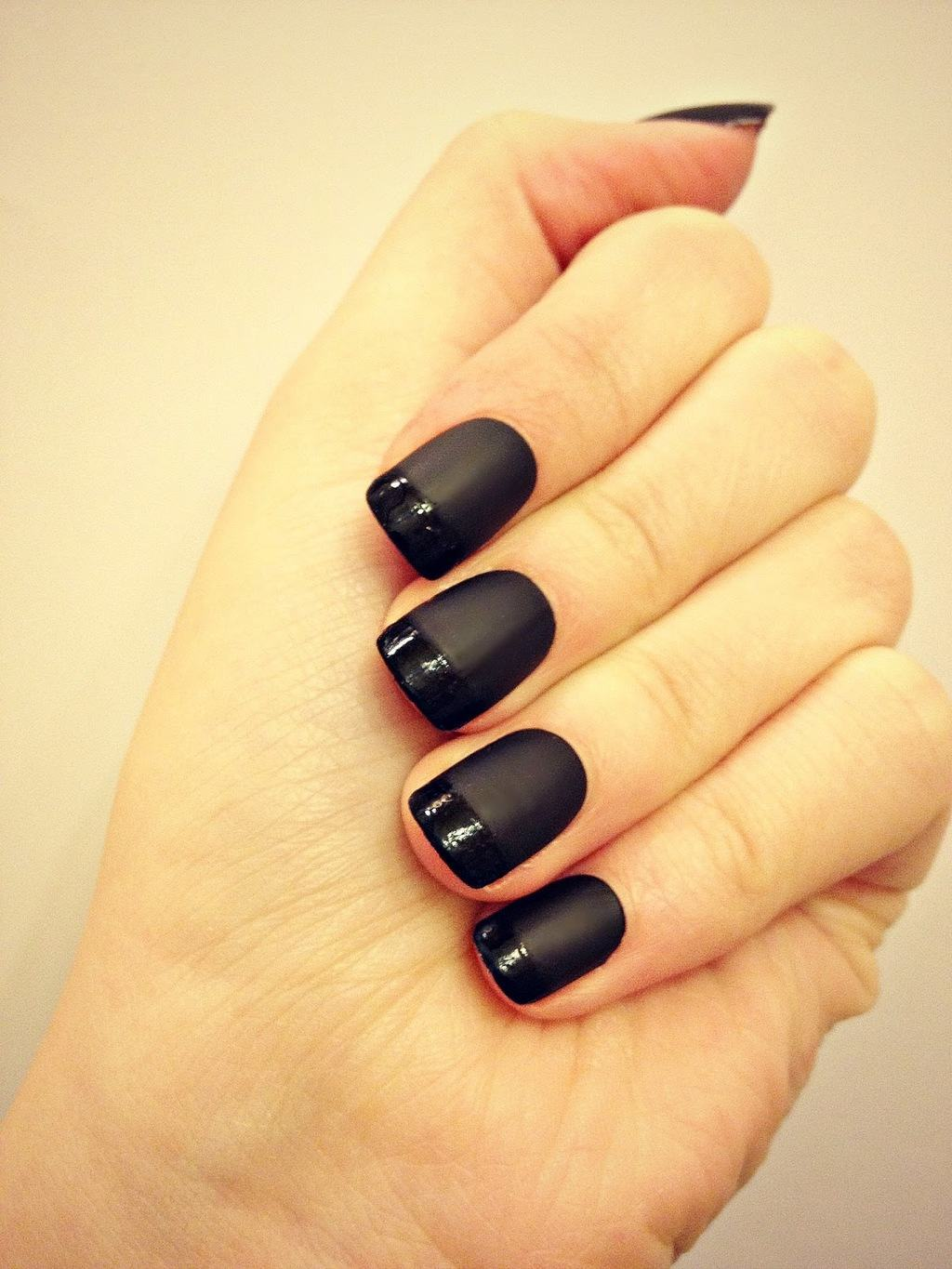 simple Glossy & Matte nail idea