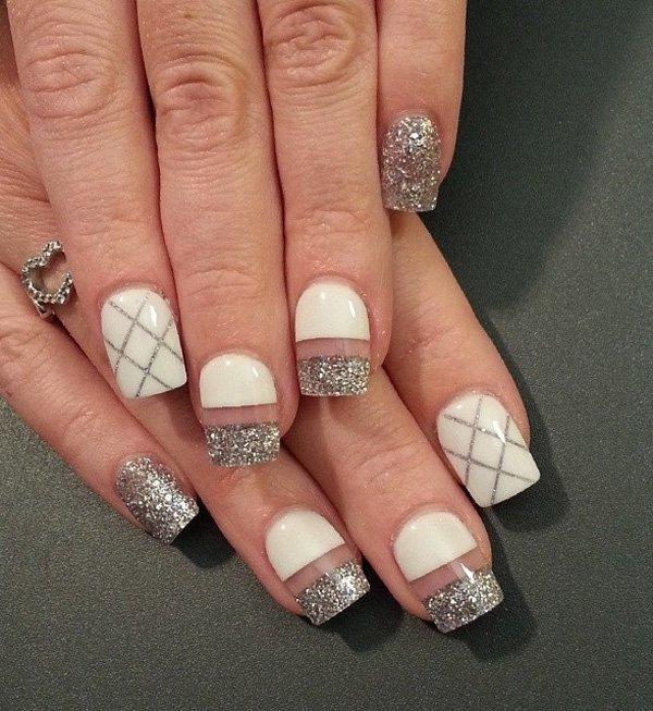 White & Silver art nail
