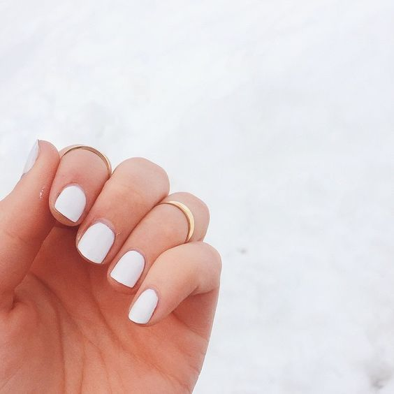 White Simple Look easy nail