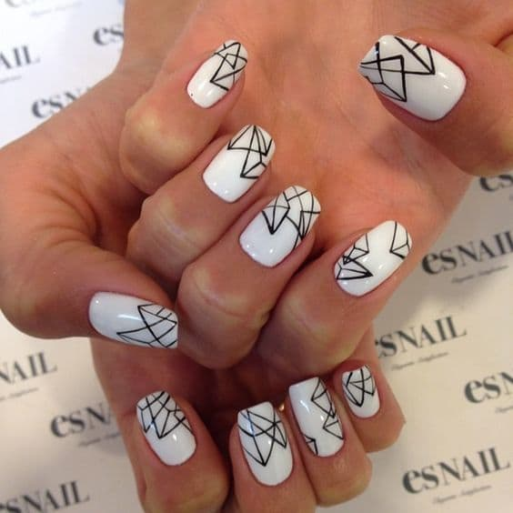 Geometric & Simple white nail art