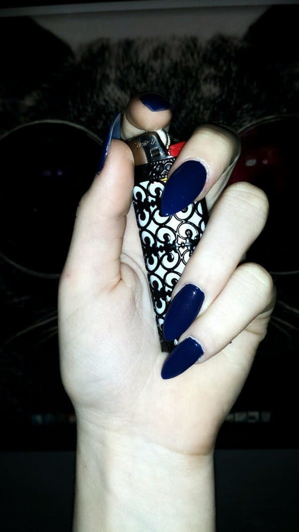 Rihanna Navy stiletto nail art