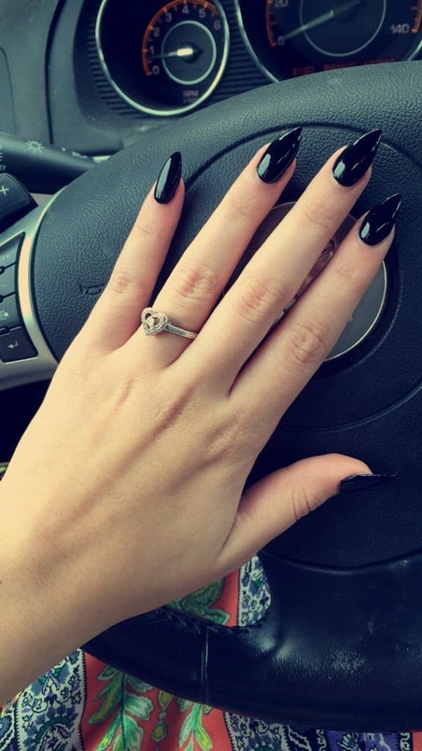 women Bold Black stiletto nails - 101 Top Stiletto Nail Designs To Turn Heads Quickly
