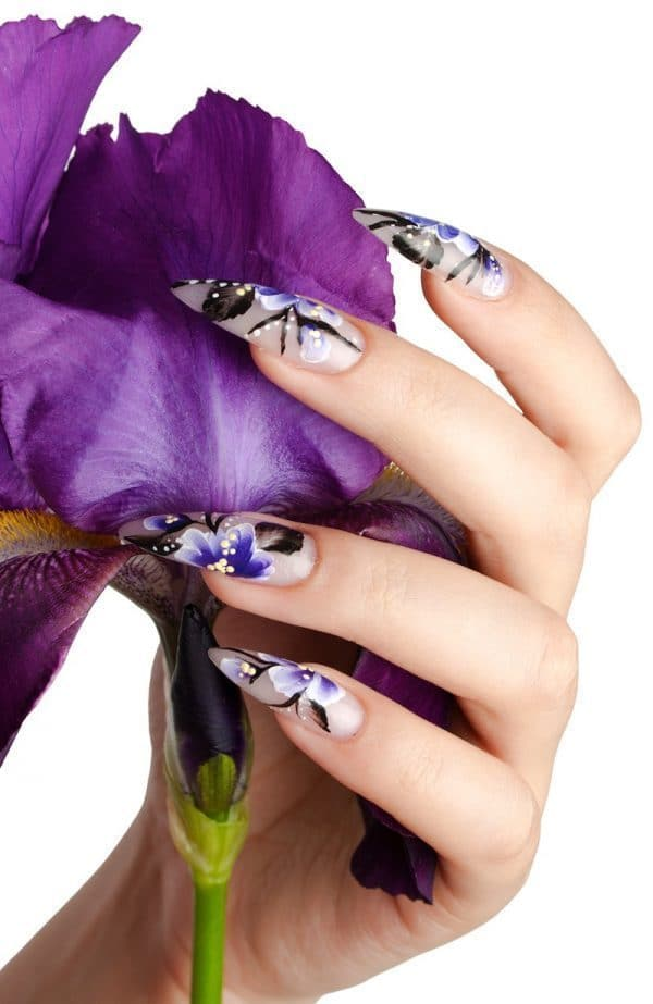 Floral Stiletto nail designs you like