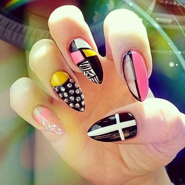 80's Vibes stiletto nail idea