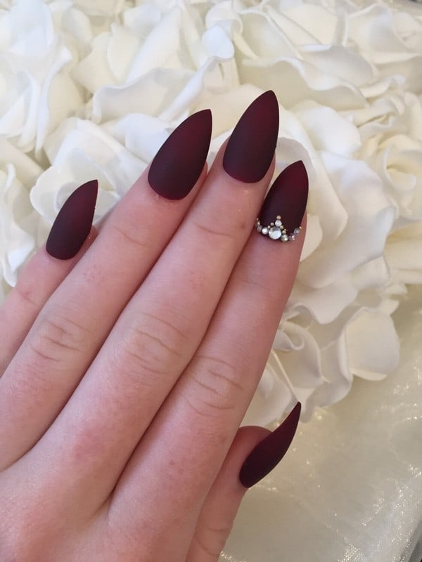 burgundy stiletto nail design