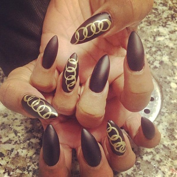 best Gold Chains stiletto nail designs for women