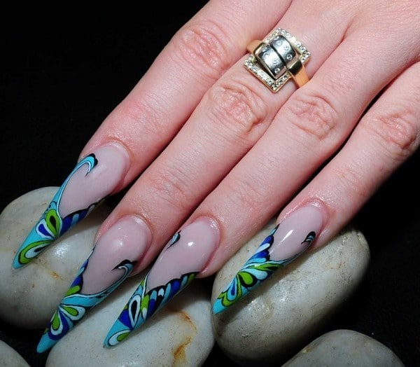 white stiletto nail design