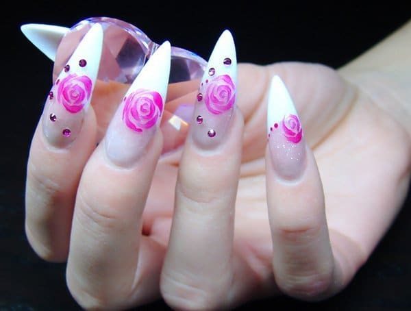 Feminine French stiletto nail designs