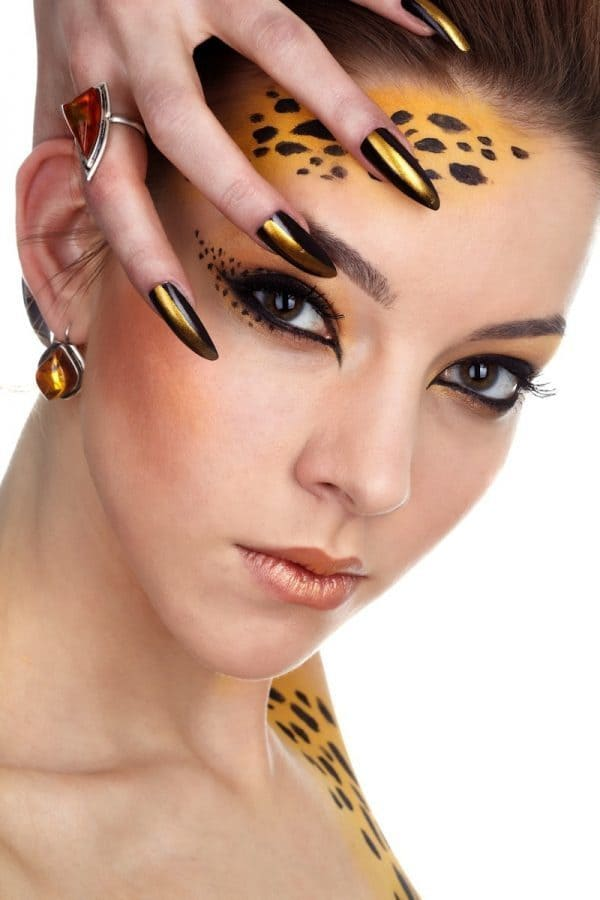 Bronze Brush stiletto nail designs for women