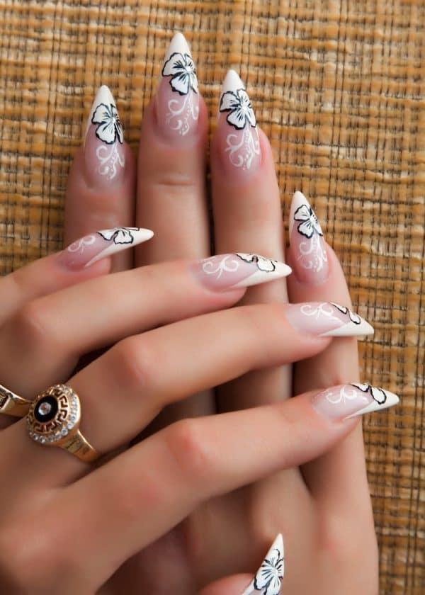 White stiletto nail style