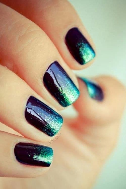 Ombre And Glitter teal nail designs