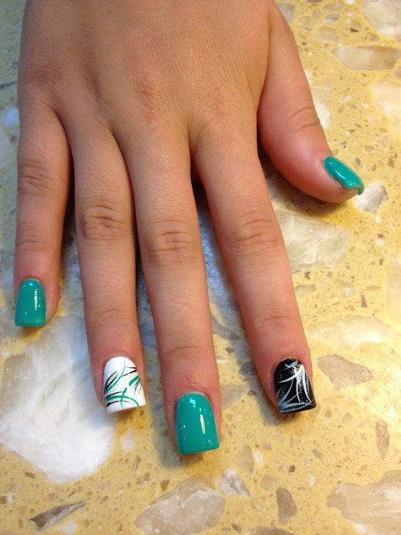 15 teal nail designs youll fall in love with naildesigncode teal nail designs with curvy and swirly prinsesfo Images