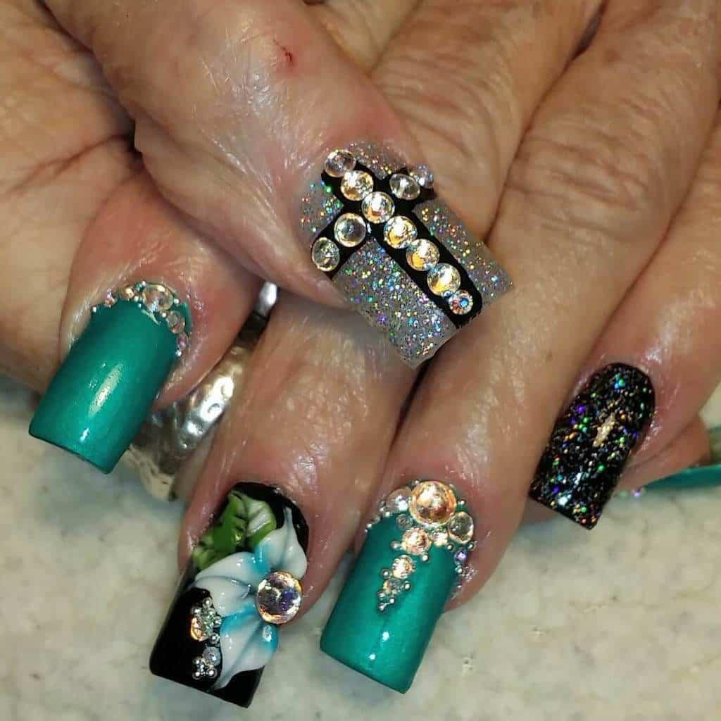 teal nail designs 67