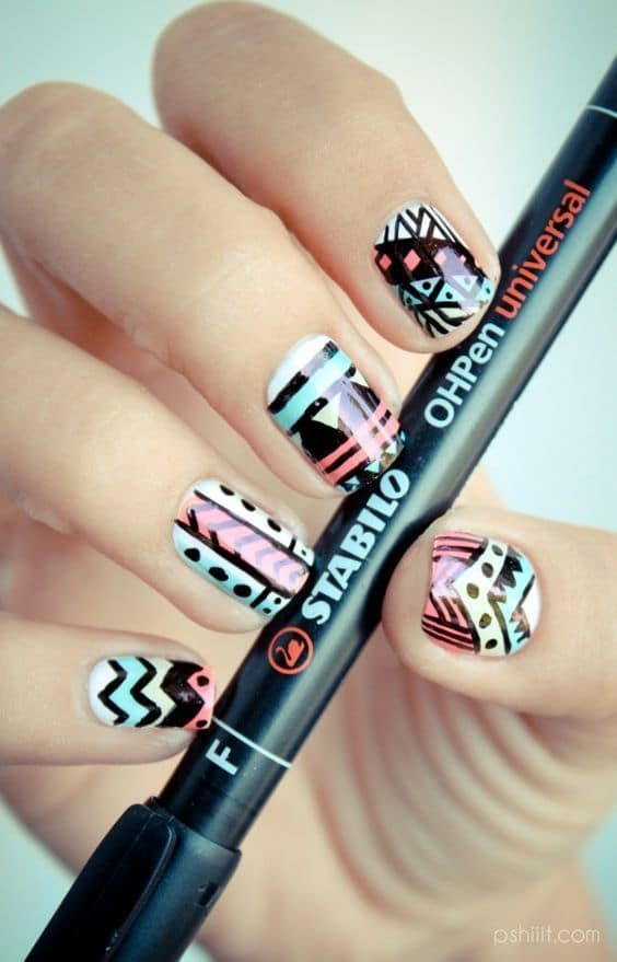 Tribal Pastel Nail Designs