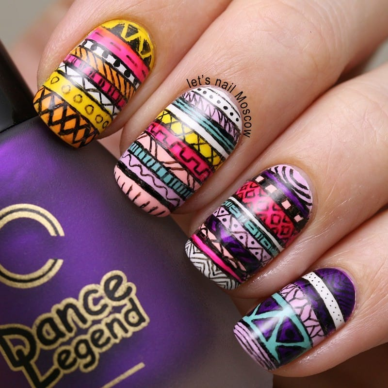 tribal aztec nail designs 11